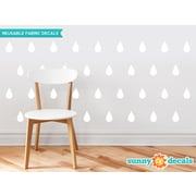 Sunny Decals Raindrop Fabric Wall Decal (Set of 40); White