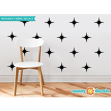 Sunny Decals Retro Stars Fabric Wall Decal (Set of 22); Black
