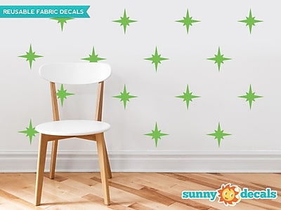 Sunny Decals Retro Stars Fabric Wall Decal (Set of 22); Green