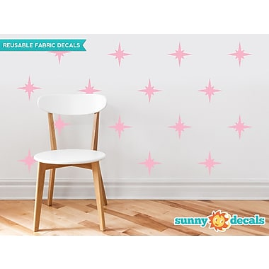 Sunny Decals Retro Stars Fabric Wall Decal (Set of 22); Pink
