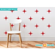 Sunny Decals Retro Stars Fabric Wall Decal (Set of 22); Red