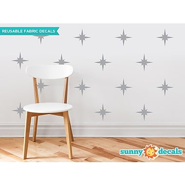 Sunny Decals Retro Stars Fabric Wall Decal (Set of 22); Grey