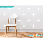Sunny Decals Retro Stars Fabric Wall Decal (Set of 22); White