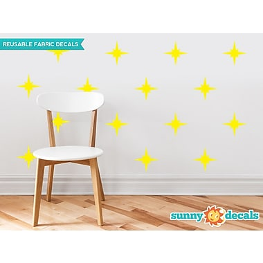 Sunny Decals Retro Stars Fabric Wall Decal (Set of 22); Yellow