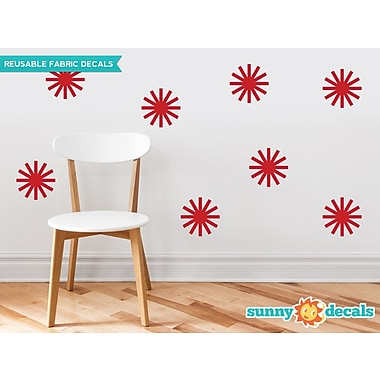Sunny Decals Starburst Fabric Wall Decal (Set of 8); Red