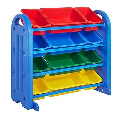ECR4Kids® – Bloc de rangement compartimenté à 4 étages, avec bacs, bleu