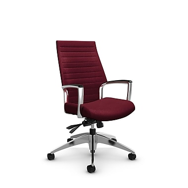 Global – Fauteuil Accord à haut dossier inclinable, tissu agencé bourgogne (rouge)