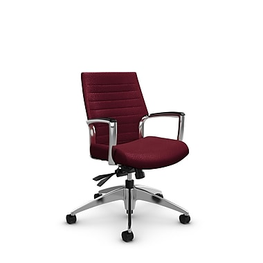 Global – Fauteuil Accord à dossier bas inclinable, tissu agencé bourgogne (rouge)