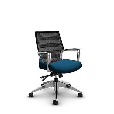 Global – Fauteuil Accord à dossier bas en filet à lignes noir charbon inclinable, imprimé marine (bleu)