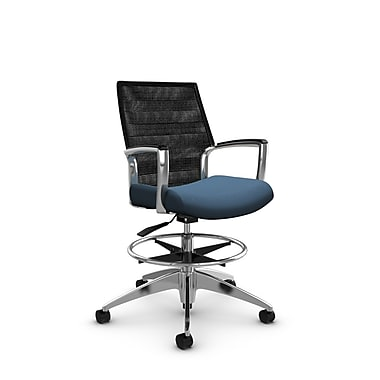 Global Accord Mid Back Drafting Chair, Imprint Ocean Fabric (Blue), Vue Coal Black Mesh (Black)