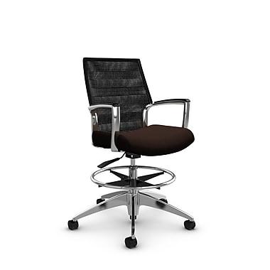Global Accord – Chaise pour dessinateur à dossier moyen, fini noyer (Brun), dossier en filet noir charcoal (Noir)