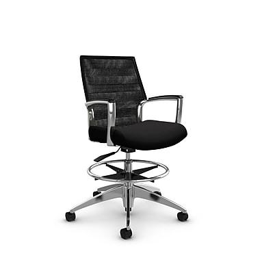 Global Accord – Chaise pour dessinateur à dossier moyen, fini réglisse (Noir), dossier en filet noir charcoal (Noir)