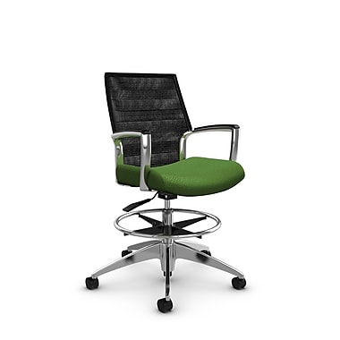 Global Accord Mid Back Drafting Chair, Match Green Fabric (Green), Vue Coal Black Mesh (Black)