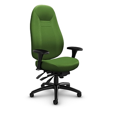 Global – Fauteuil ObusForme Comfort, dossier haut, basc. multi, tissu agencé, vert