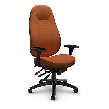 Global – Fauteuil ObusForme Comfort, doss. haut, basc. multi, tissu couleur paprika (orange)