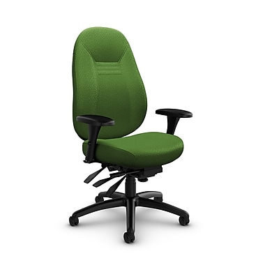Global – Fauteuil Obusforme Comfort, dossier mi-dos, à basculements multiples, tissu Match Green (vert)