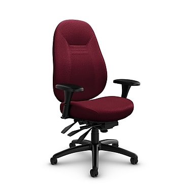 Global – Fauteuil Obusforme Comfort, dossier mi-dos, à basculements multiples, tissu Match Burgundy (rouge)