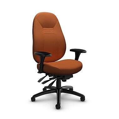 Global – Fauteuil Obusforme Comfort, dossier mi-dos, à basculements multiples, tissu Imprint Paprika (orange)