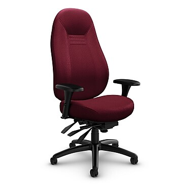 Global – Fauteuil ObusForme Comfort 24 heures, dossier haut, à basculements multiples, tissu Match Burgundy (rouge)