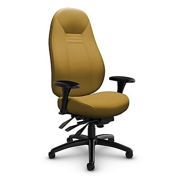 Global – Fauteuil ObusForme Comfort 24 heures, doss. haut, basc. multi, tissu couleur jaune curry