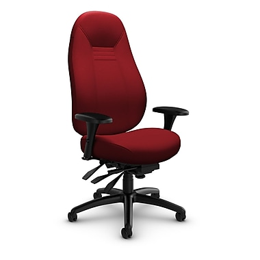 Global – Fauteuil ObusForme Comfort 24 heures, doss. haut, basc. multi, tissu couleur rouge pomme