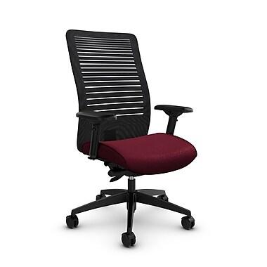 Global – Fauteuil Loover inclinable, dossier haut en filet (noir) à lignes ouvertes, tissu rouge bourgogne
