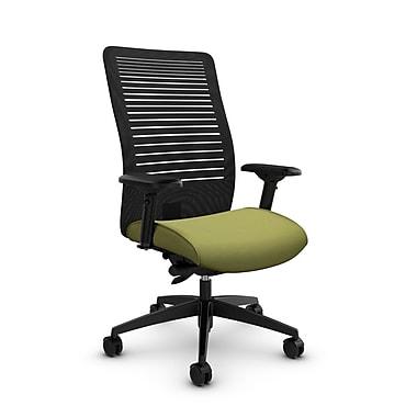 Global – Fauteuil Loover inclinable, dossier haut en filet (noir) à lignes ouvertes, tissu couleur vert céleri