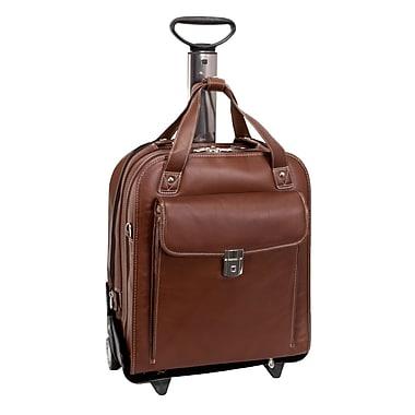 Siamod Pastenello Leather Vertical Detachable-Wheeled Laptop Case, Cognac