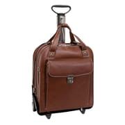 Siamod Pastenello Leather Vertical Detachable-Wheeled Laptop Case, Cognac