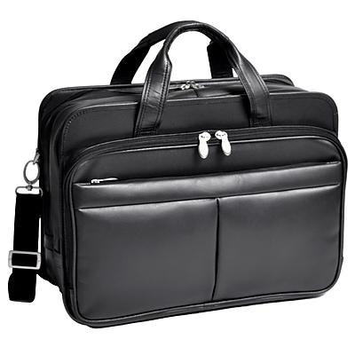 McKlein Walton, Expandable Laptop Briefcase w/ Removable Sleeve, Top Grain Cowhide Leather, Black (83985)