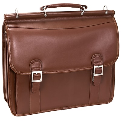 McKlein V Series, HALSTED, Top Grain Cowhide Leather, Double Compartment Laptop Briefcase, Brown (80334)