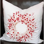 Xia Home Fashions Holiday Berry Wreath Throw Pillow; 20'' H x 20'' W