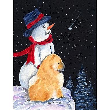 Caroline's Treasures Snowman w/ Chow Chow 2-Sided Garden Flag