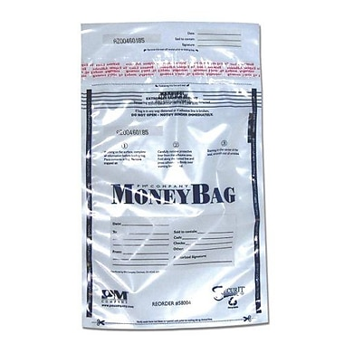 PM COMPANY Disposable Deposit Bag, Plastic, 12''x16'', 100/PK, Clear