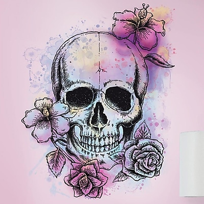 Room Mates Deco Bright Floral Skull Giant Wall Decal