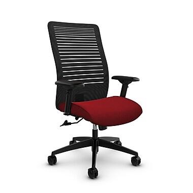 Global – Fauteuil Loover inclinable, dossier haut en filet (noir) à lignes ouvertes, tissu couleur rouge pomme