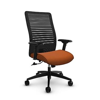 Global – Fauteuil Loover inclinable, dossier haut en filet (noir) à lignes ouvertes, tissu couleur orange paprika