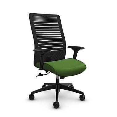 Global – Fauteuil Loover inclinable, dossier haut en filet (noir) à lignes ouvertes, tissu vert