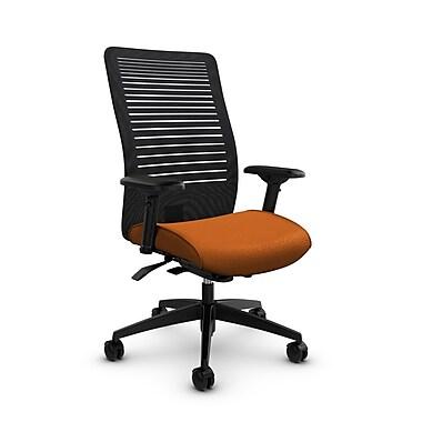 Global – Fauteuil Loover inclinable synchro avec détecteur de poids, filet ouvert noir charbon, doss. haut, tissu orange