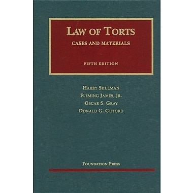 Shulman, James, Gray, and Gifford's Cases and Materials on the Law of Torts, 5th (9781599417103), New Book