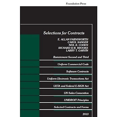 Farnsworth, Sanger, Cohen, Brooks and Garvin Selections for Contracts, 2013 (Selected Statutes), New Book (9781609303617)