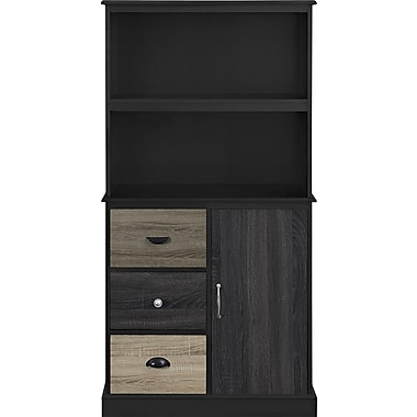 Altra Blackburn Storage Bookcase with Multicolored Door and Drawer Fronts, Black