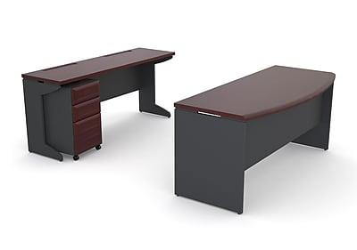 Altra Pursuit Office Set with Mobile File Cabinet Bundle, Cherry/Gray