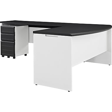 Altra Pursuit Office Set with Mobile File Cabinet Bundle, White/Gray