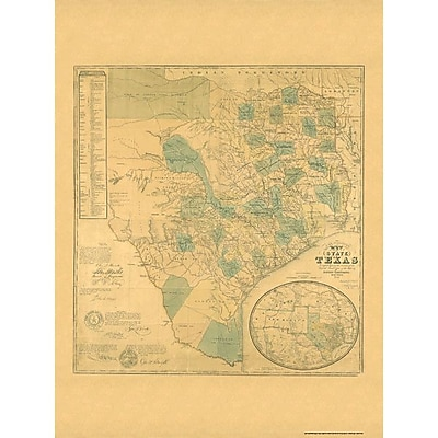Universal Map Texas 1853 Historical Map; Mounted