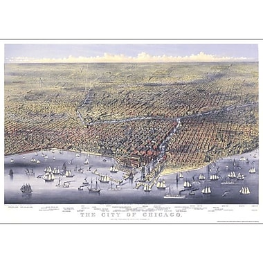 Universal Map Chicago 1874 Historical Map; Mounted