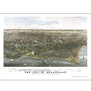Universal Map Washington 1880 Historical Print Mounted Wall Map