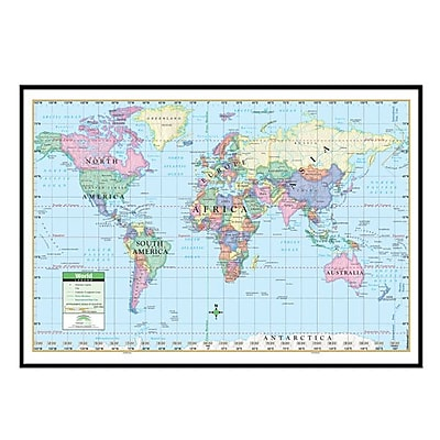 Universal Map World Primary Mounted Framed Wall Map; Black