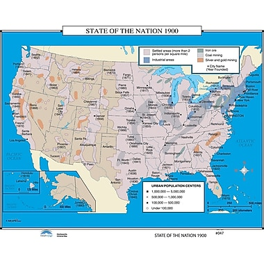 Universal Map U.S. History Wall Maps - State of the Nation 1900