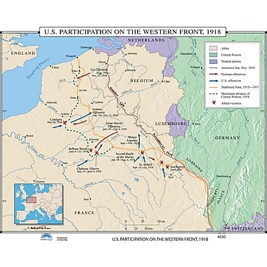 Universal Map U.S. History Wall Maps - U.S. Participation on Western Front